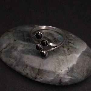 Jewelry - Sterling Silver Adjustable Ring With Onyx Inlay